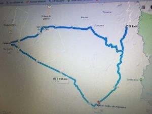 percorso automobilistico  andino da El Tatio a San Pedro