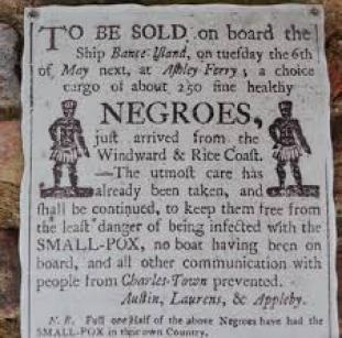 locandina dell'asta degli schiavi