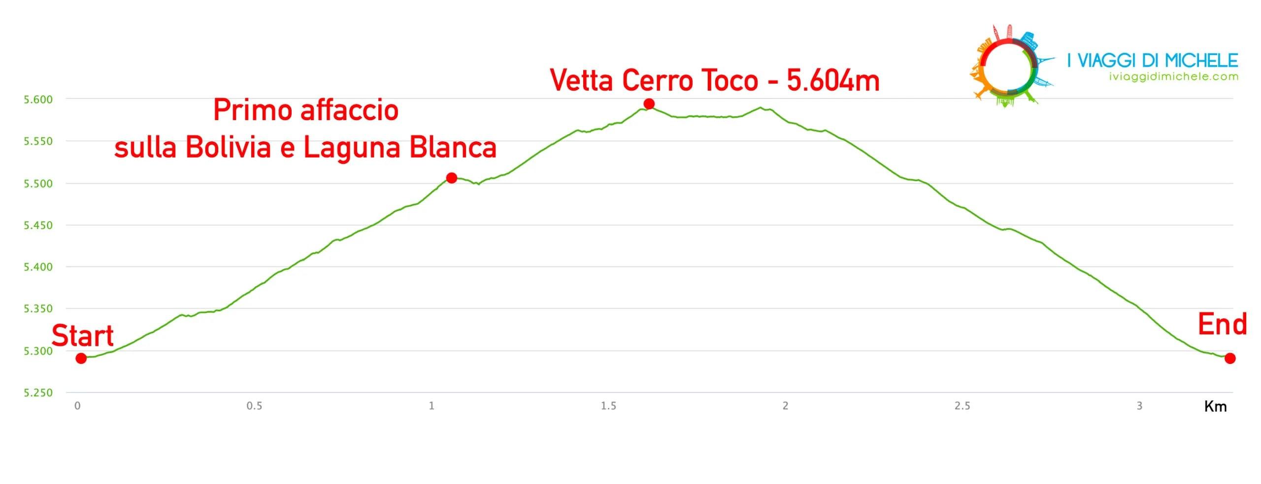 Altimetria trekking Cerro Toco