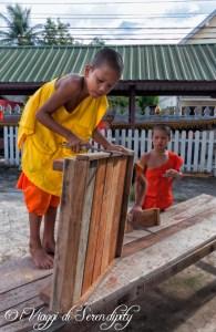 Luang Prabang Monaci lavorano il legno
