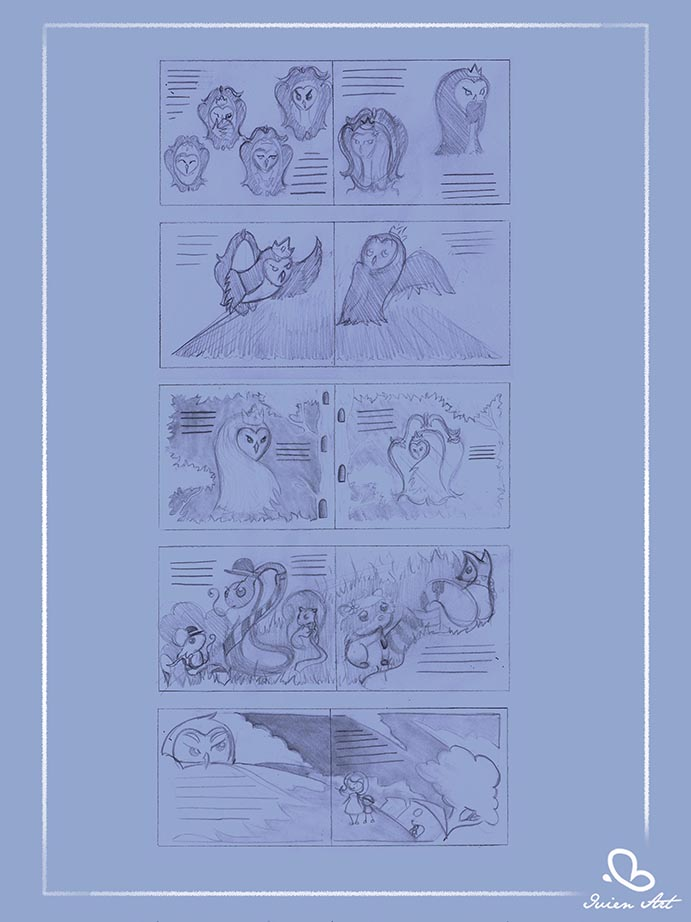 valentina lauria - ivien art - barbagianni, barn owl stories, second version, storyboard