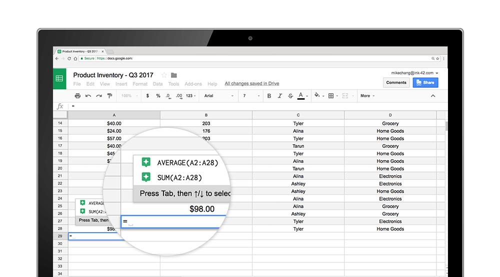 google sheets formula sugg