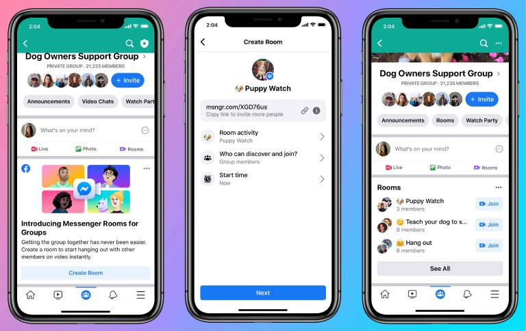 Messenger Rooms in Groups