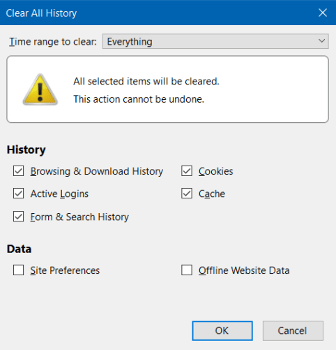Mozilla Firefox Cache Clear