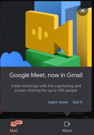 Meet Tab in Gmail Mobile App