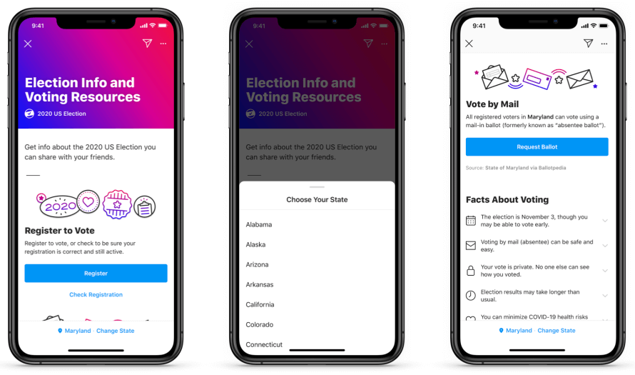 Facebook Introducing 2020 Voting Information Center on Facebook and Instagram in the US