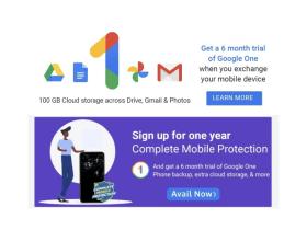 Get 100GB of Google One Cloud Storage for 6-Months During Flipkart Big Saving Days