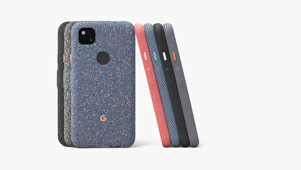 Pixel 4a Cases in Three Colors (Basically Black, Static Gray, and Blue)