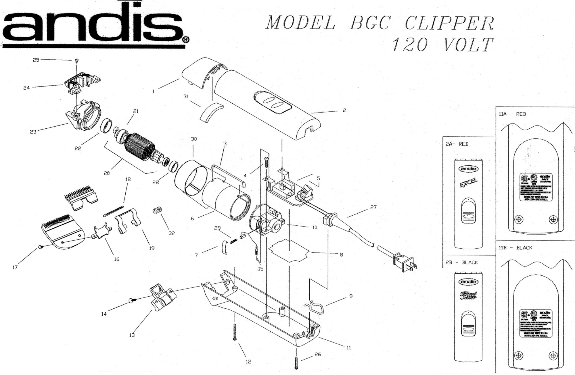 hight resolution of  andis bgc excel parts list