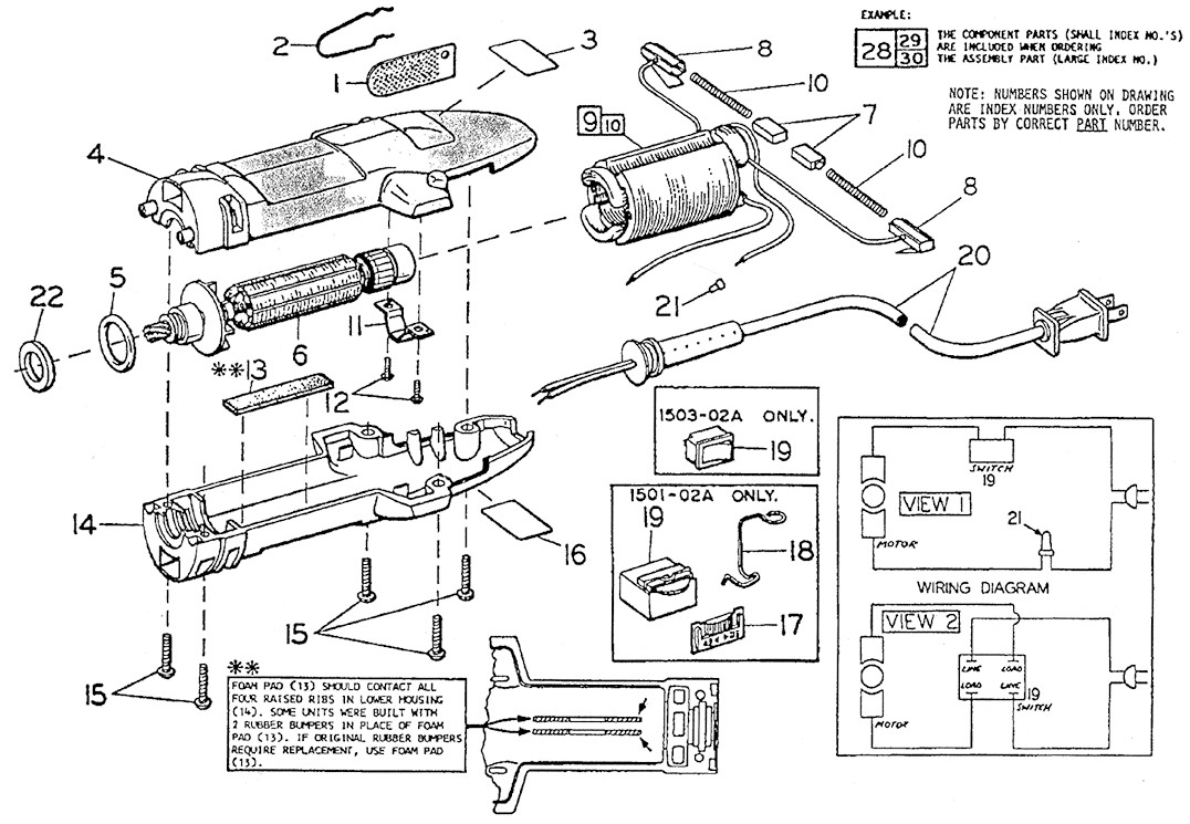 Oster 72157 Motor Parts List