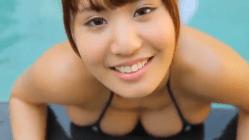 伊藤菜ノ香 白レオタードで溢れそうな巨乳を揺らしまくる