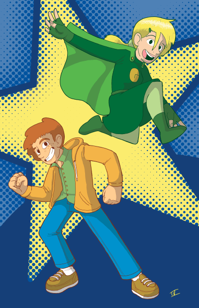 """Poster of characters from """"Austin the Unstoppable"""" and """"Gabi Goes Green""""."""