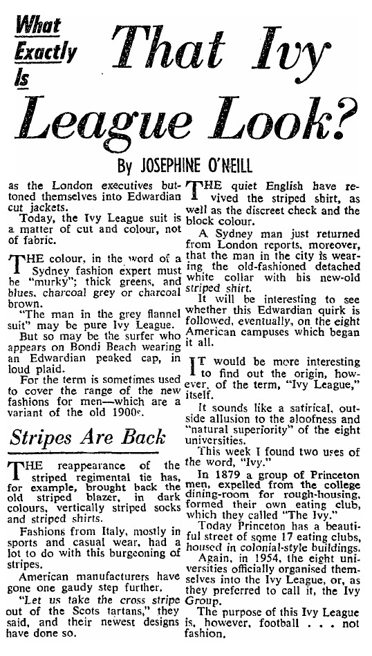 The Ivy League Look In Australia In The '50s