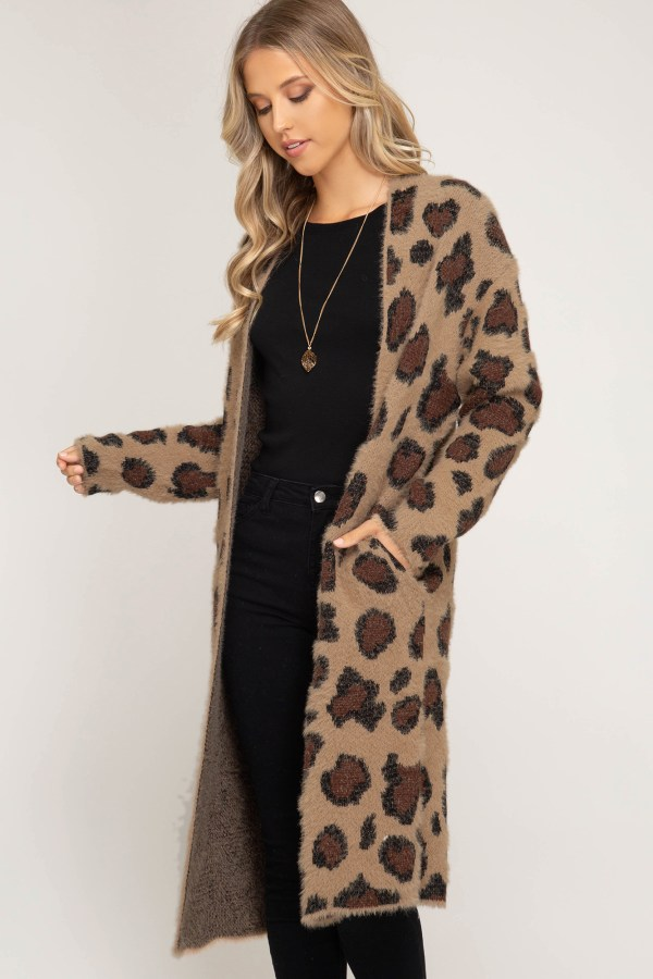 Long Sleeve Leopard Fuzzy Front Open Cardigan - Ivy And Pearl Online Boutique