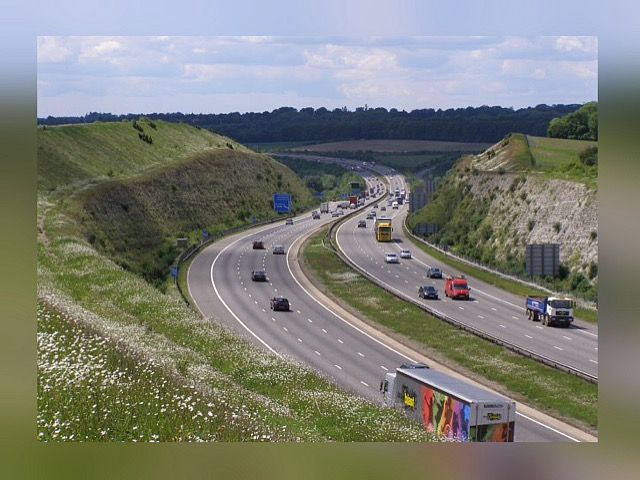The motorway runni ng through the Twford Down cut From geograph.org.uk by Jim Champion