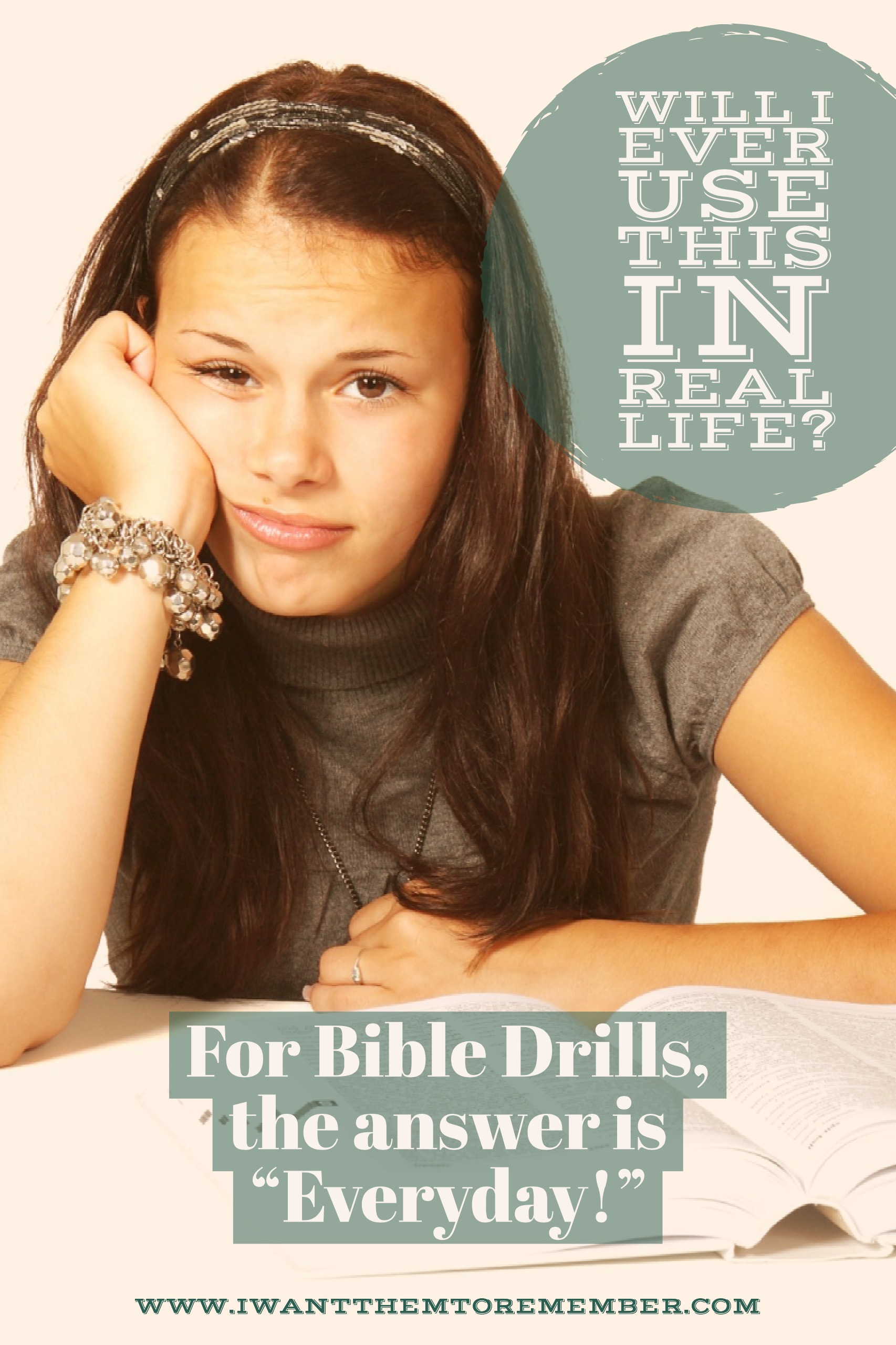 Did you or your kids ever ask this question in school? With Bible Drills, the answer is