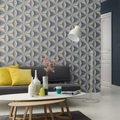 Wallpaper Ideas For Living Room Feature Wall Desk Design Geometric Your Home I Want Blog A That Could Easily Be Used As In Or Bedroom Throughout Bathroom Toilet With Matching Blue