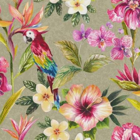 Holden Tropical Parrot Flower Pattern Wallpaper Bird Floral Metallic 98820
