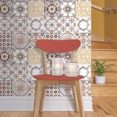 Wallpaper For Kitchen Aid Electric Range Muriva Tile Pattern Retro Floral Motif Bathroom Vinyl J95605