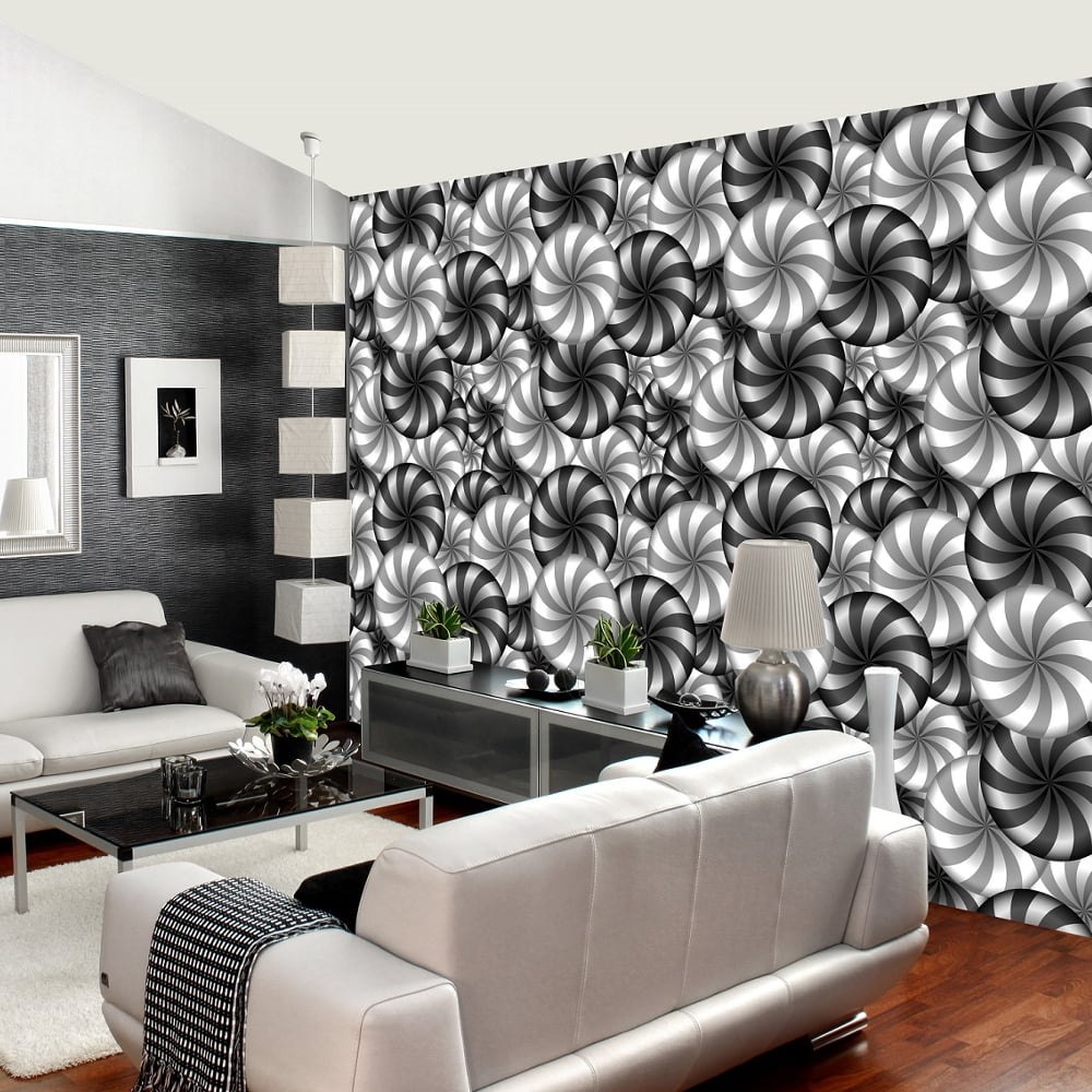 black and white wallpaper ideas for living room with furniture rainbow circle pattern wall mural 3d effect geometric decor r229