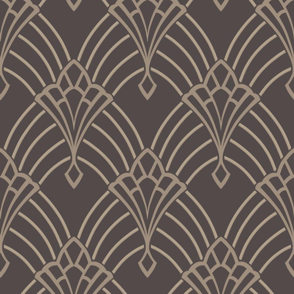 Rasch Art Deco Pattern Wallpaper Arch Embossed Metallic Glitter 305319