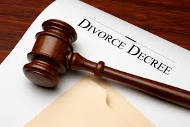 divorce document with a judge's gavel