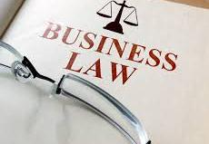 business law document and an eyeglass