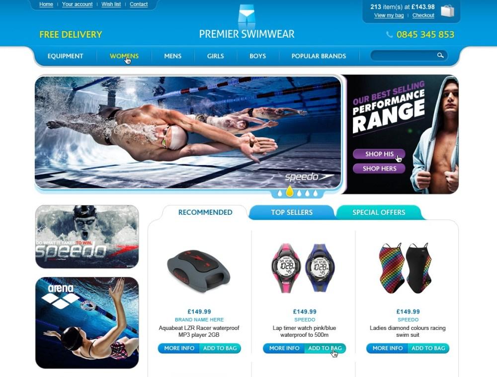 iWeb develop a prestigious virtual home for Premier Swimwear