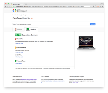 Screenshot of a Google PageSpeed Insights report | Slow Google Site Speed | iWeb