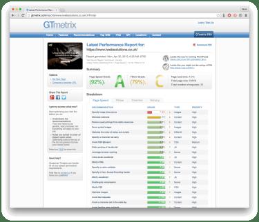 Screenshot of a GTmetrix report
