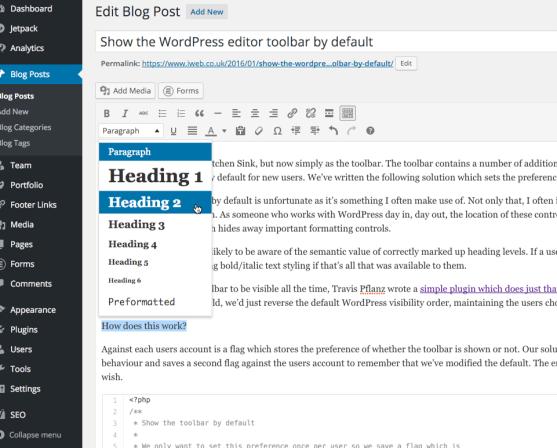 Show the WordPress editor toolbar by default