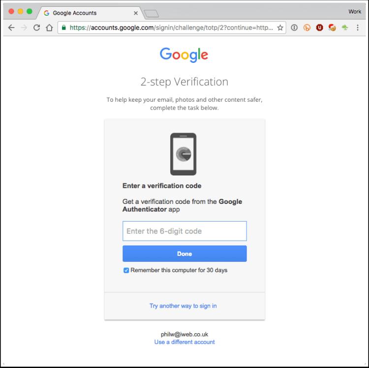 Google 2FA | WordPress website security