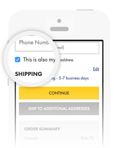 Mobile Checkout | Select 'Same as billing address'