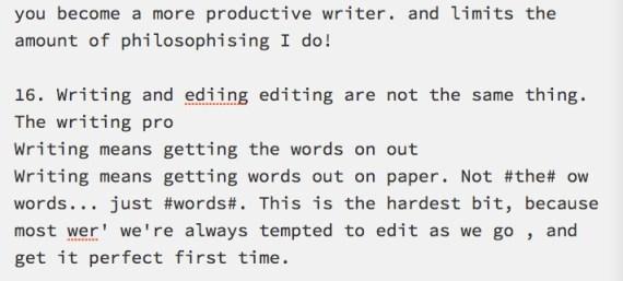 unedited writing