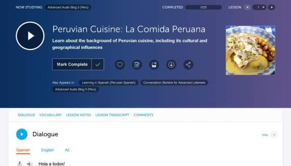 SpanishPod101 Lesson Page