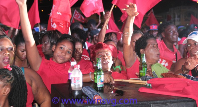 ULP supporters at the rally in Calliaqua on Saturday. (IWN photo)