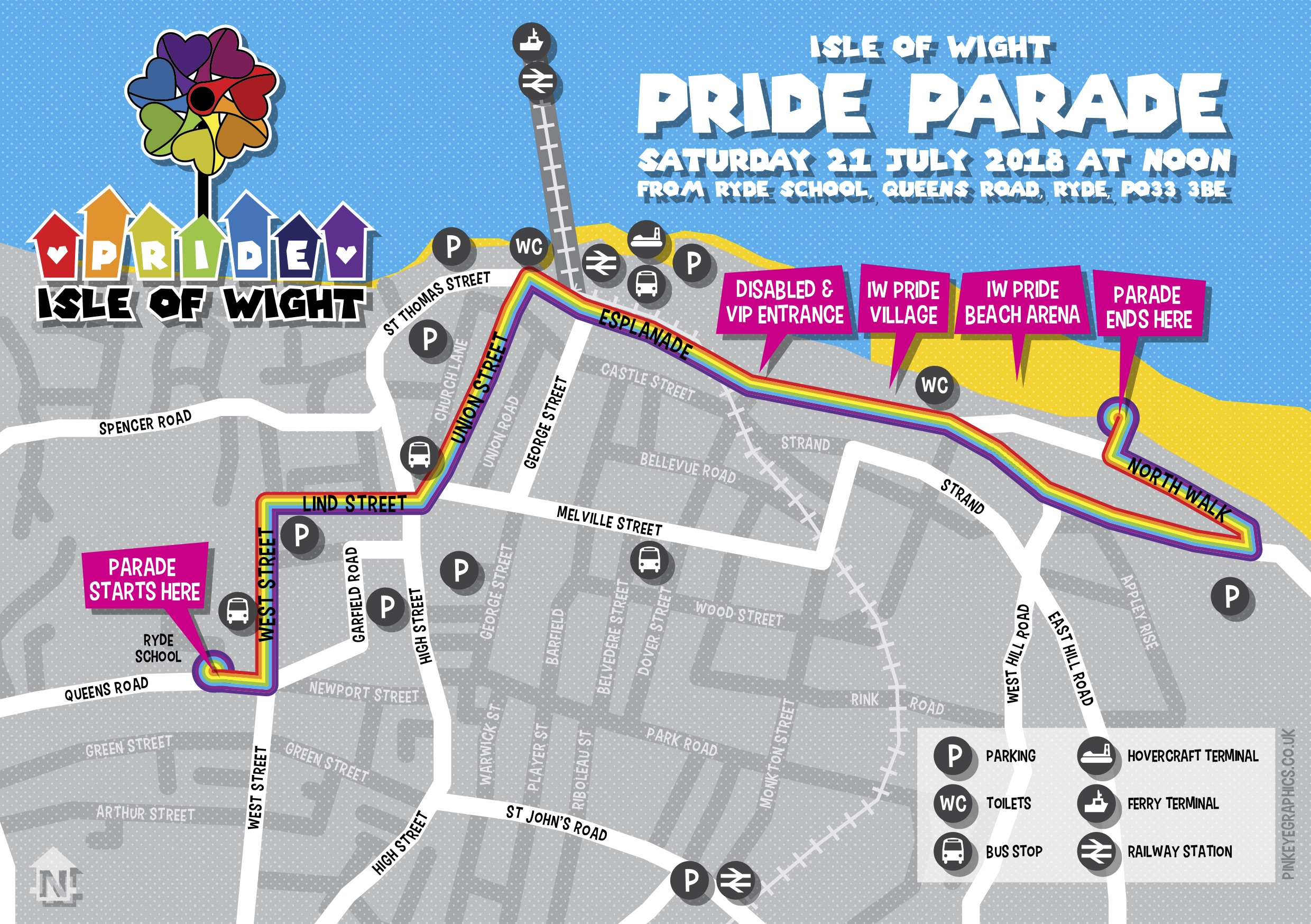 IW Pride Parade map 2018
