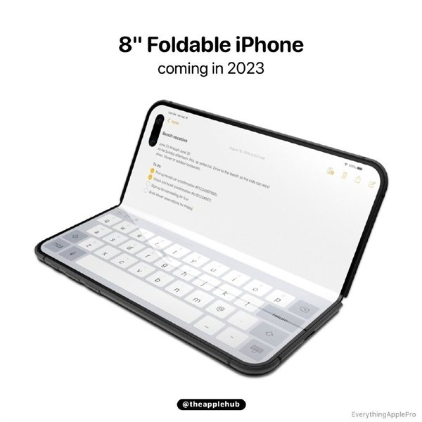 Possible foldable iPhone shown in renders - with embedded front camera and sensors of the FaceID system