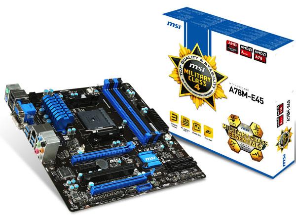 Основой платы MSI A78M-E45 служит набор системной логики AMD A75