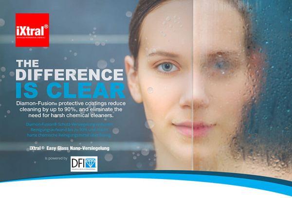 iXtral Easy Glass Nanoversiegelung reduziert den Reinigungsaufwand bis zu 90% und macht harte chemische Reinigungsmitel überflüssig
