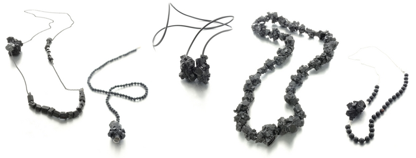 Izabella Petrut art jewelry necklaces with silver, black resin and stones