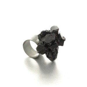 One of a kind ring, oxidised silver , epoxy resin, black.