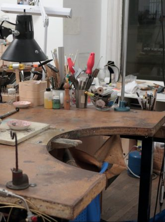 jewelry studio, jewelry workshop, goldsmithing bench