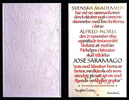 Jose Saramago'nun Nobel diploması