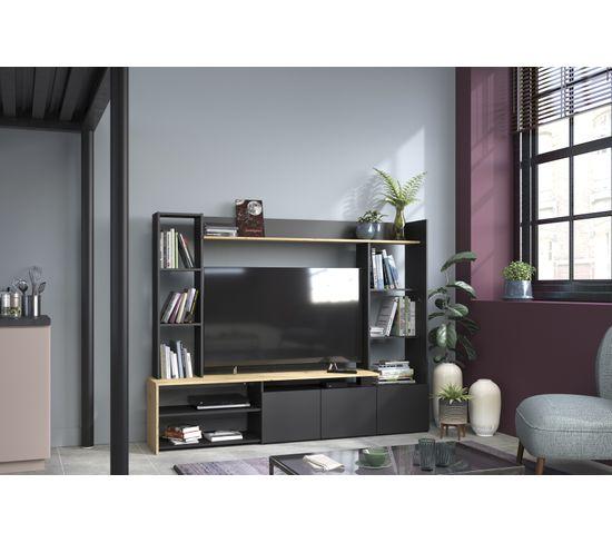 mur tv helow imitation chene et noir