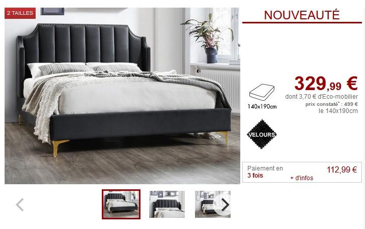 de lit coutures gris 140 x 190 cm