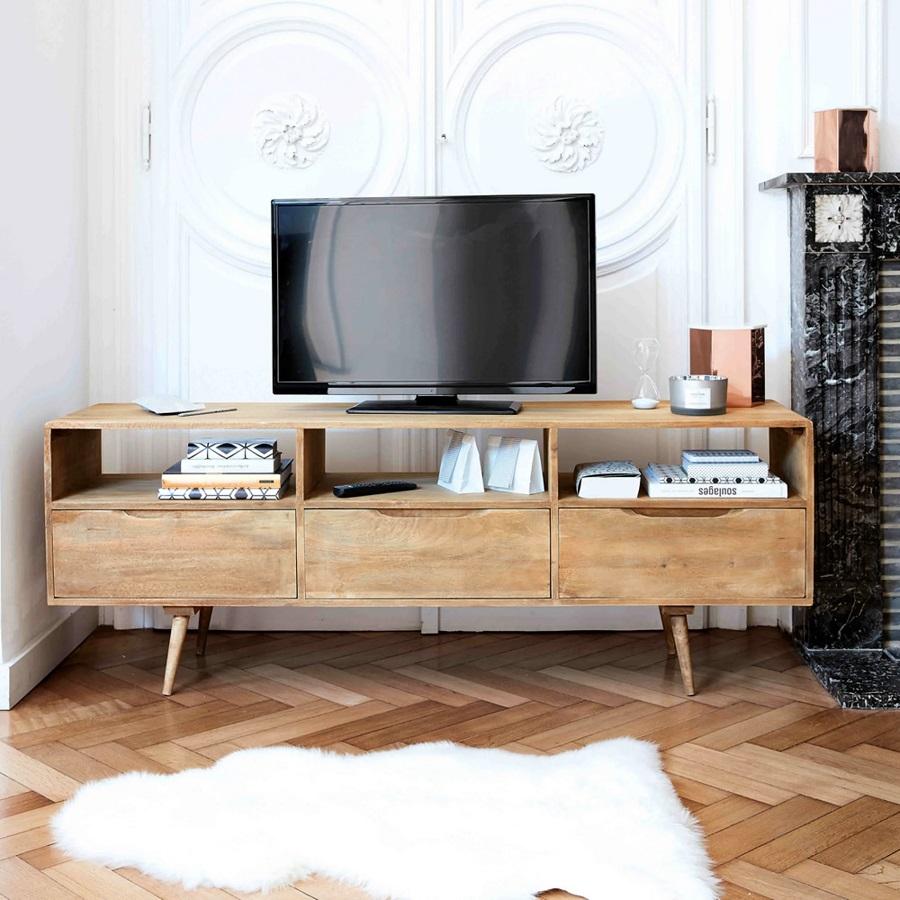 meuble tv vintage trocadero en manguier