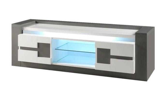 meuble tv rimini taupe blanc pas cher