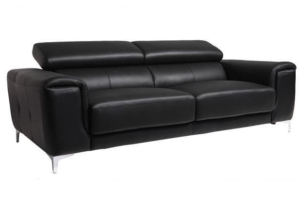 Canap cuir design 3 places NEVADA avec ttires relax noir Canap Miliboo  Izivacom