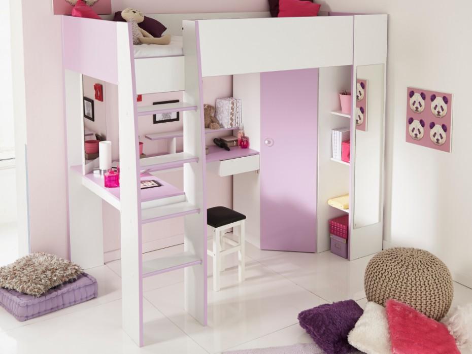 lit mezzanine gemma avec bureau armoire
